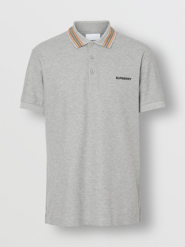 Icon Stripe Detail Cotton Piqué Polo Shirt in Pale Grey Melange - Men | Burberry - cell image 3
