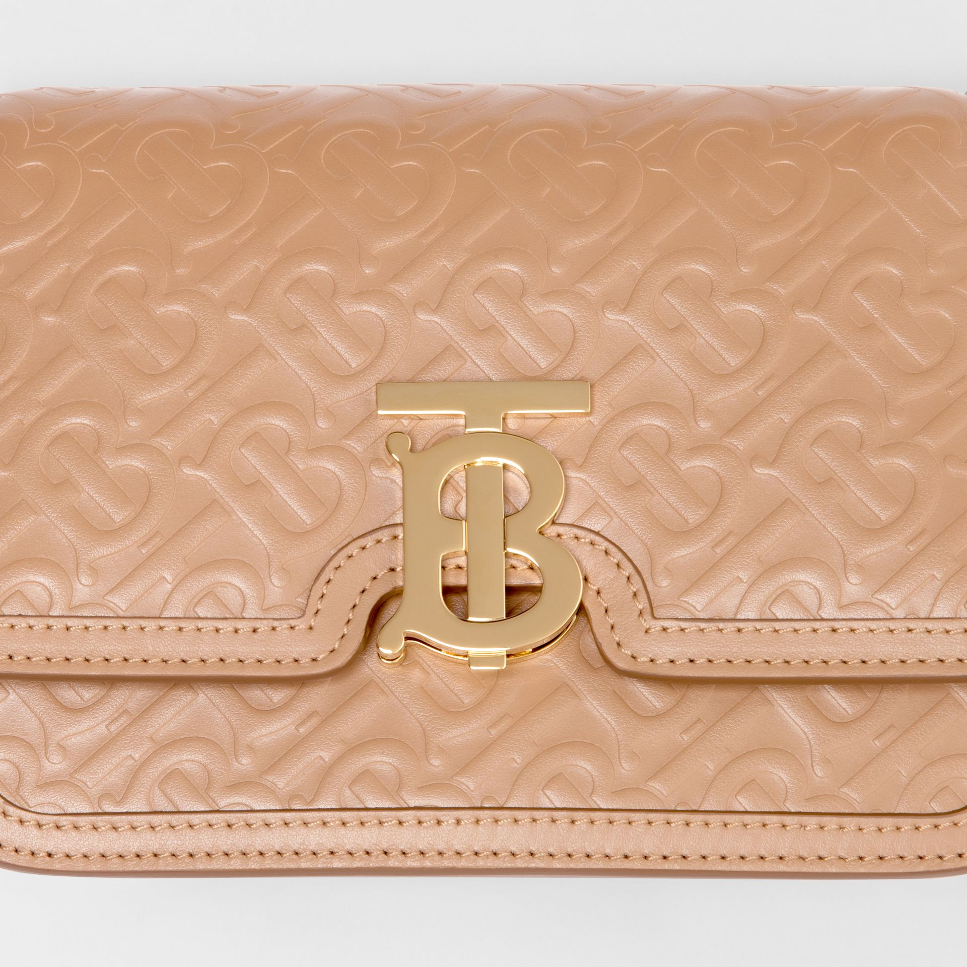 Small Monogram Leather TB Bag in Light Camel - Women | Burberry - gallery image 1