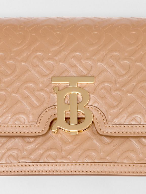 Small Monogram Leather TB Bag in Light Camel - Women | Burberry United Kingdom - cell image 1