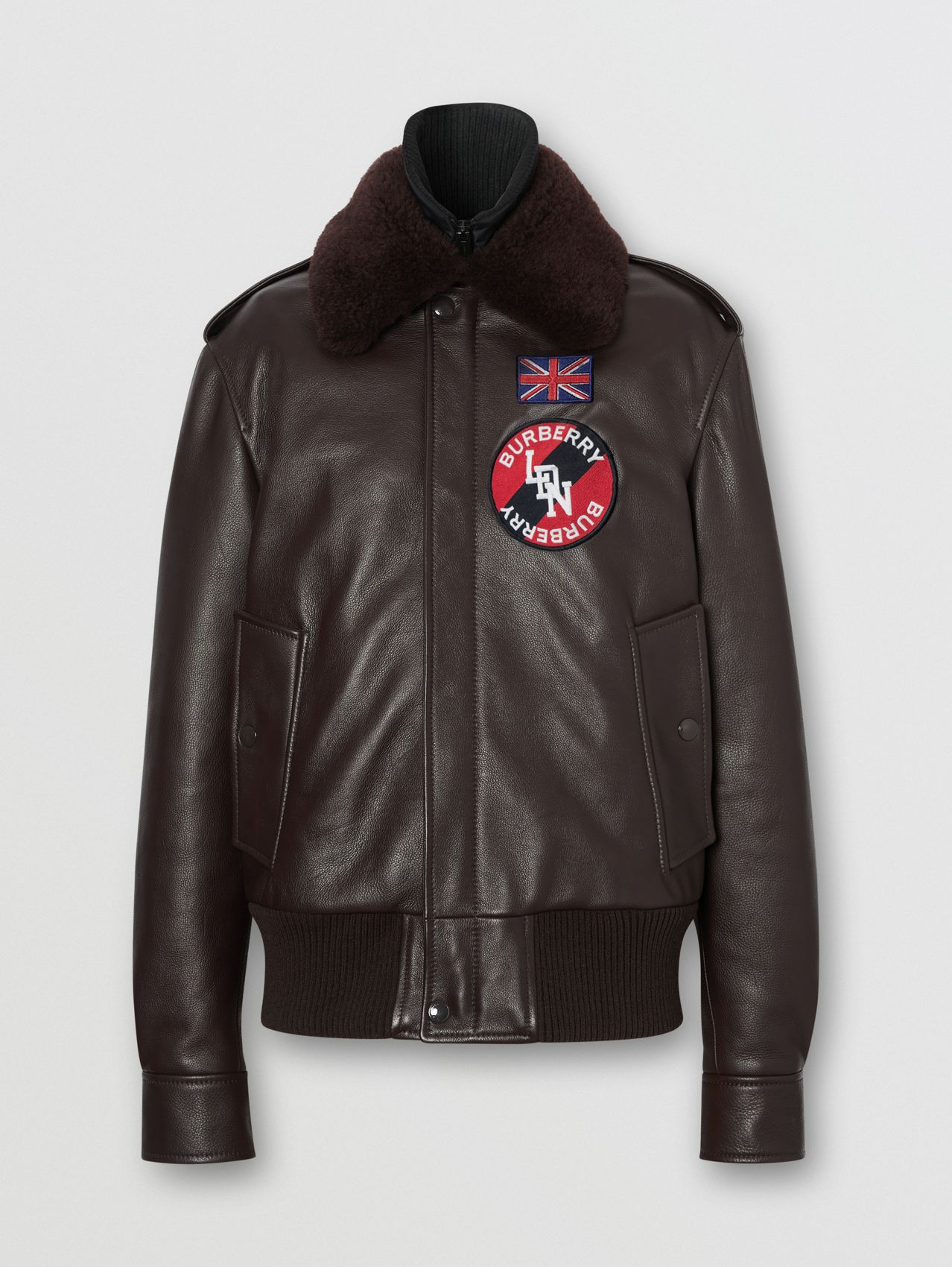 Detachable Shearling Collar Flight Jacket with Warmer in Dark Brown