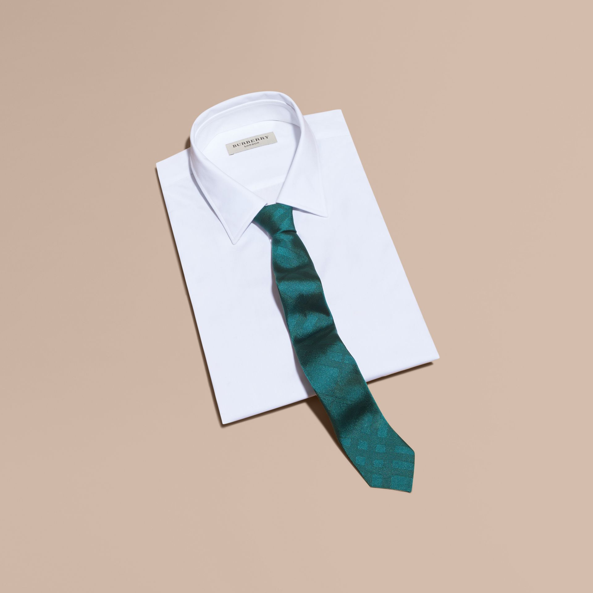 Slim Cut Check Silk Tie - gallery image 3