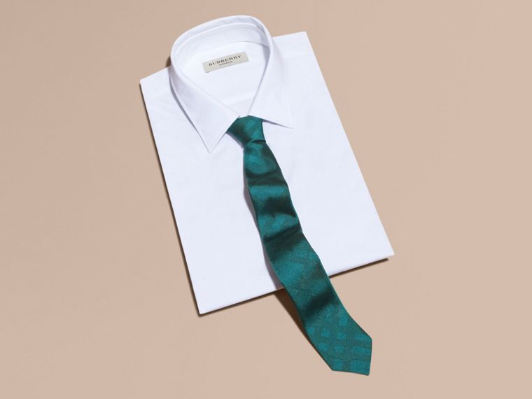 Slim Cut Check Silk Tie - cell image 2