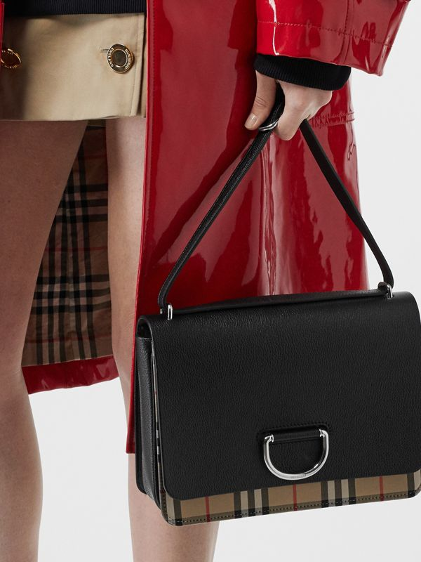 The Medium Vintage Check and Leather D-ring Bag in Black - Women | Burberry United States - cell image 2