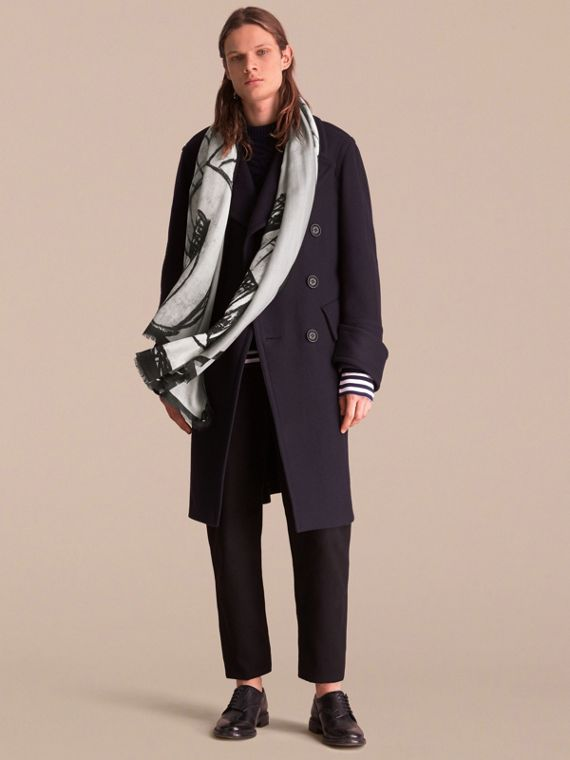 Pallas Helmet Motif Cashmere Scarf in Grey - Men | Burberry Australia - cell image 3