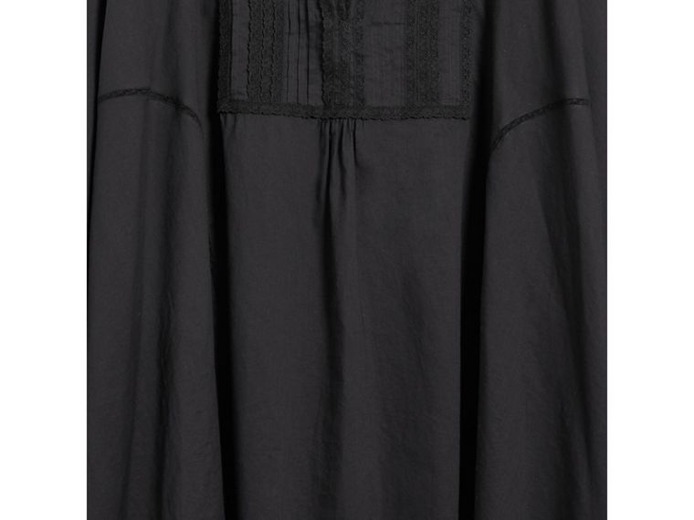 Lace Detail Cotton Kaftan in Black - Women | Burberry - cell image 1