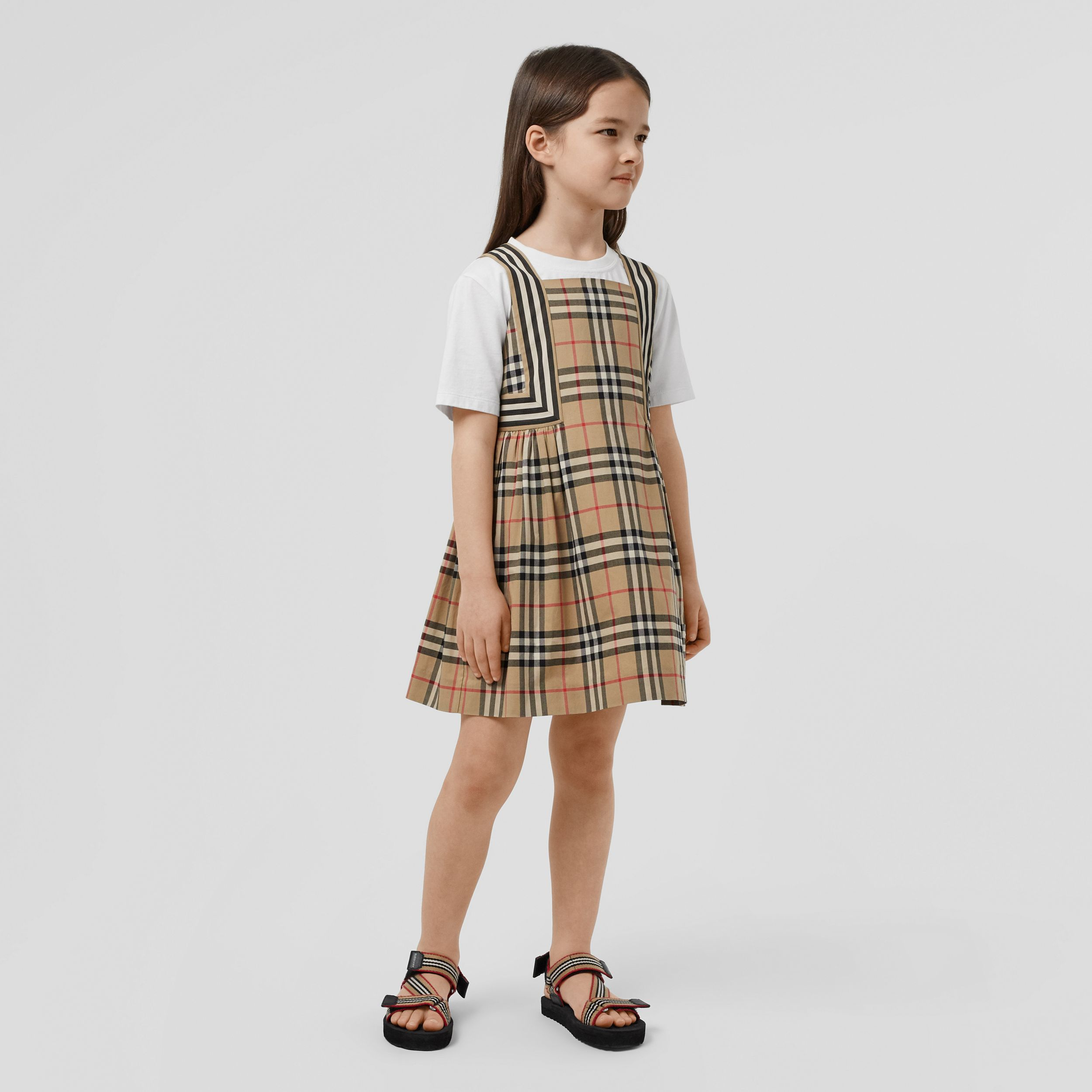 Vintage Check Cotton Dress in Archive Beige | Burberry - 3