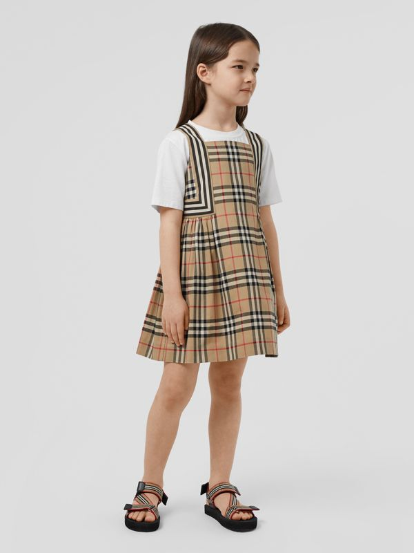 Vintage Check Cotton Dress in Archive Beige | Burberry Australia - cell image 2