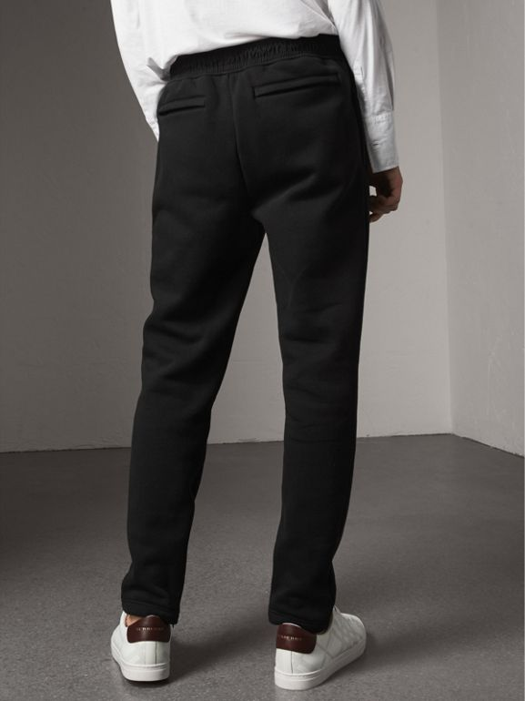 Embroidered Jersey Sweatpants in Black - Men | Burberry United Kingdom - cell image 1