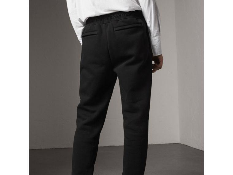 Embroidered Jersey Sweatpants in Black - Men | Burberry Hong Kong - cell image 1