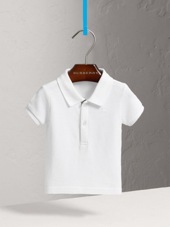 Cotton Piqué Polo Shirt in White | Burberry - cell image 2