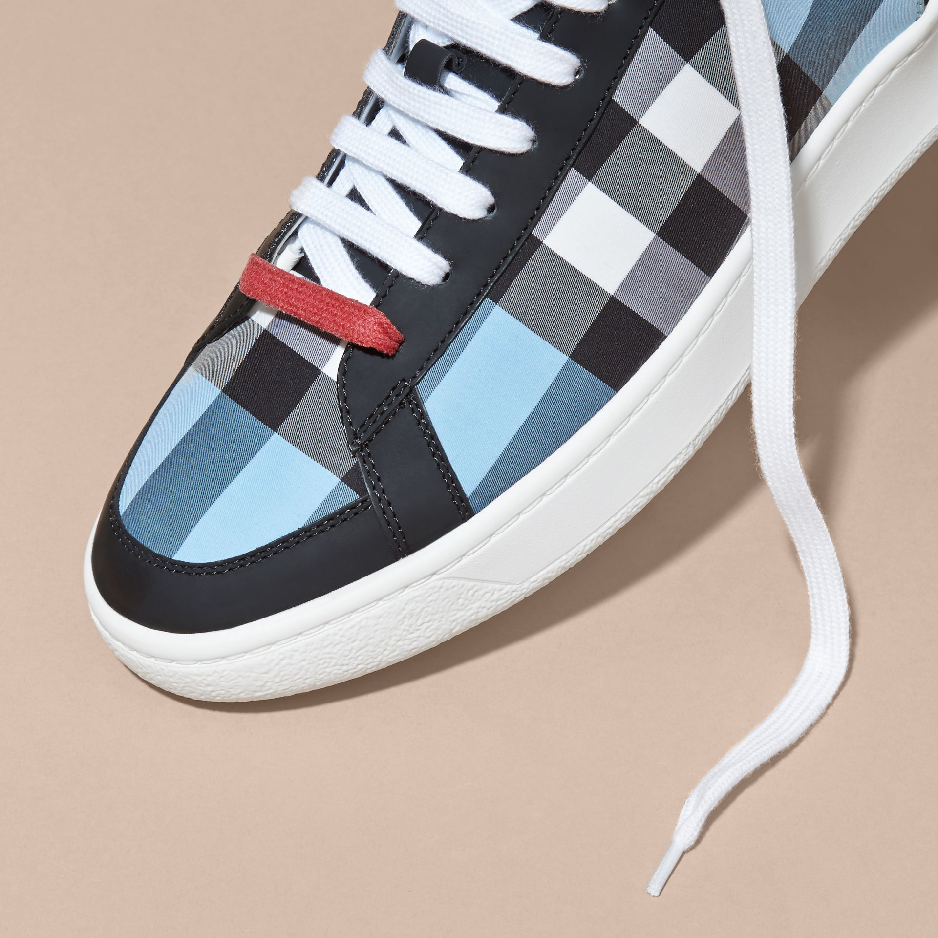 Leather and Check High-top Trainers in Light Blue - gallery image 2