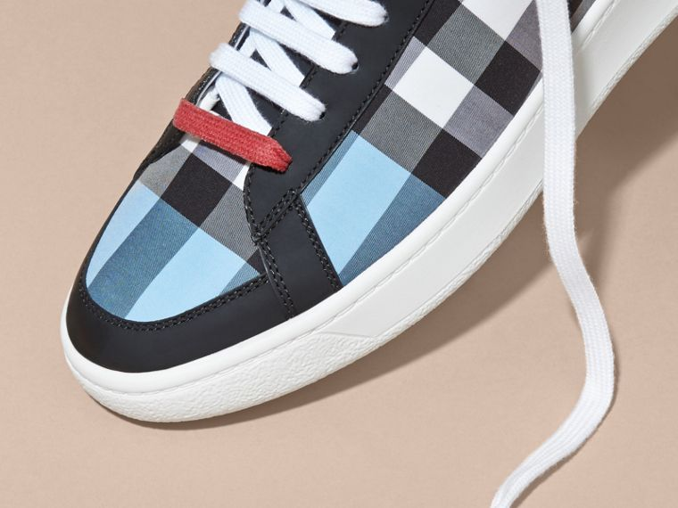 Leather and Check High-top Trainers Light Blue - cell image 1