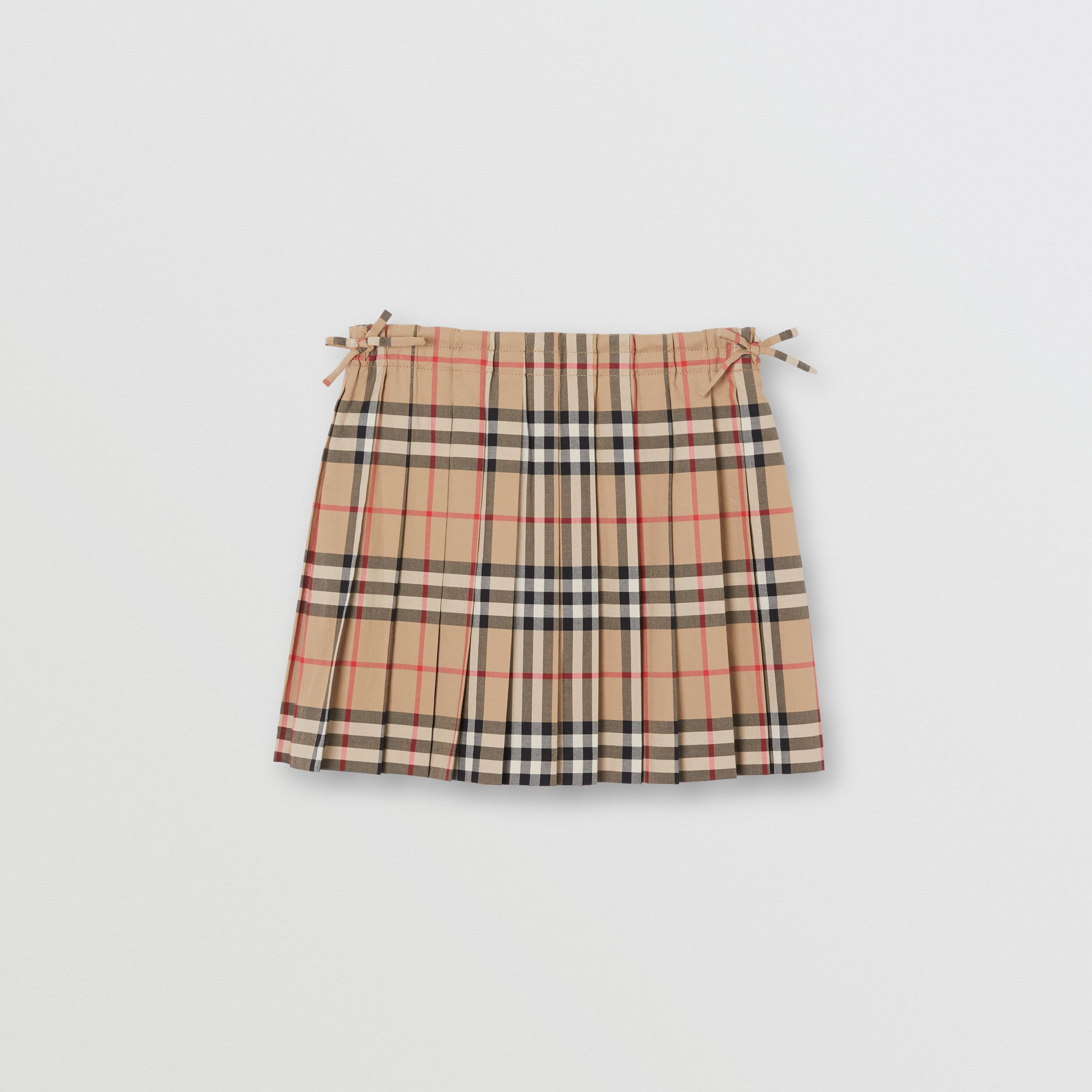 Vintage Check Cotton Pleated Skirt in Archive Beige | Burberry - 1