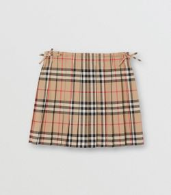a984d4175 Vintage Check Pleated Skirt in Archive Beige