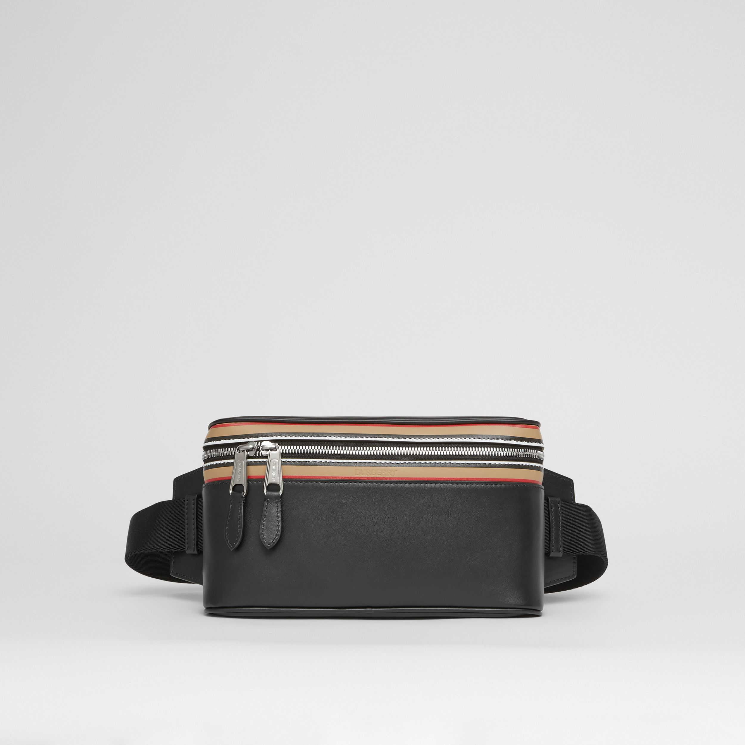 Icon Stripe Print Leather Cube Bum Bag in Black | Burberry - 1
