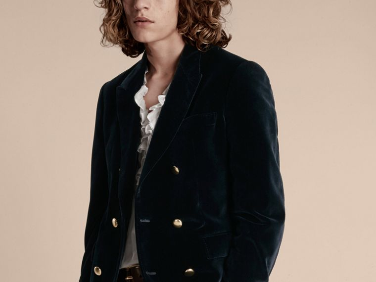 Navy Double-breasted Velvet Jacket - cell image 4