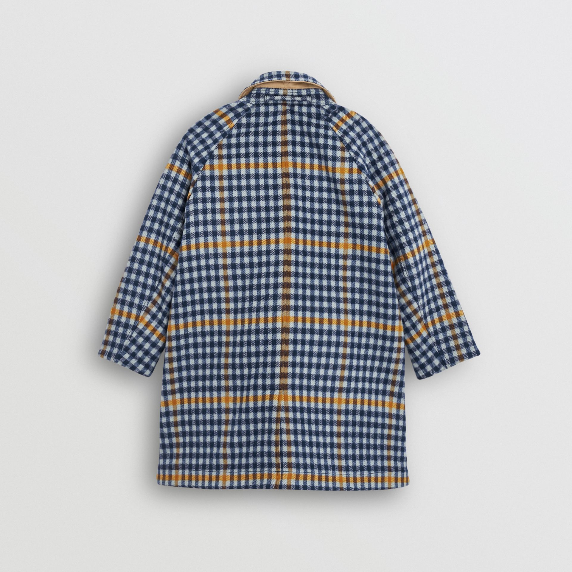 Reversible Check Wool and Cotton Car Coat in Canvas Blue - Children | Burberry - gallery image 4