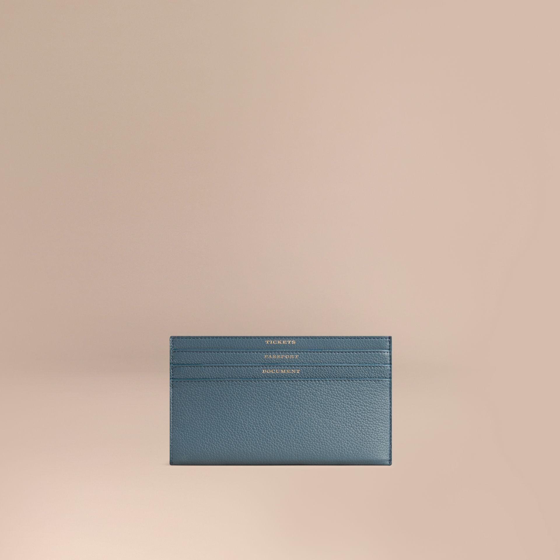 Grainy Leather Travel Case in Dusty Teal | Burberry - gallery image 1