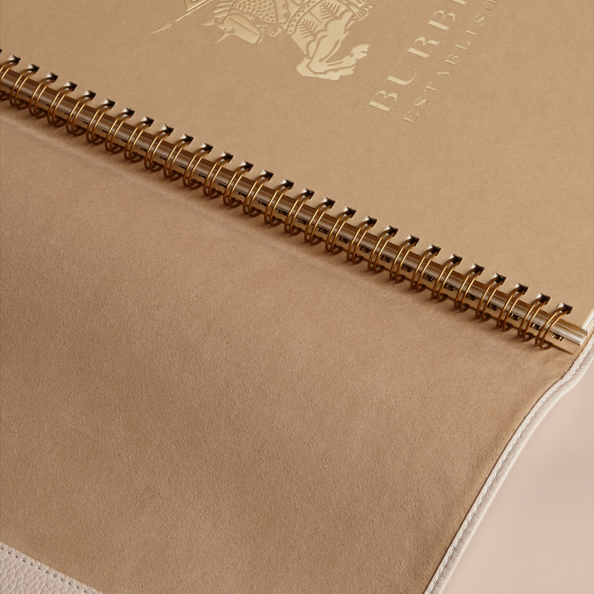 Grainy Leather A4 Notebook in Stone | Burberry - gallery image 3