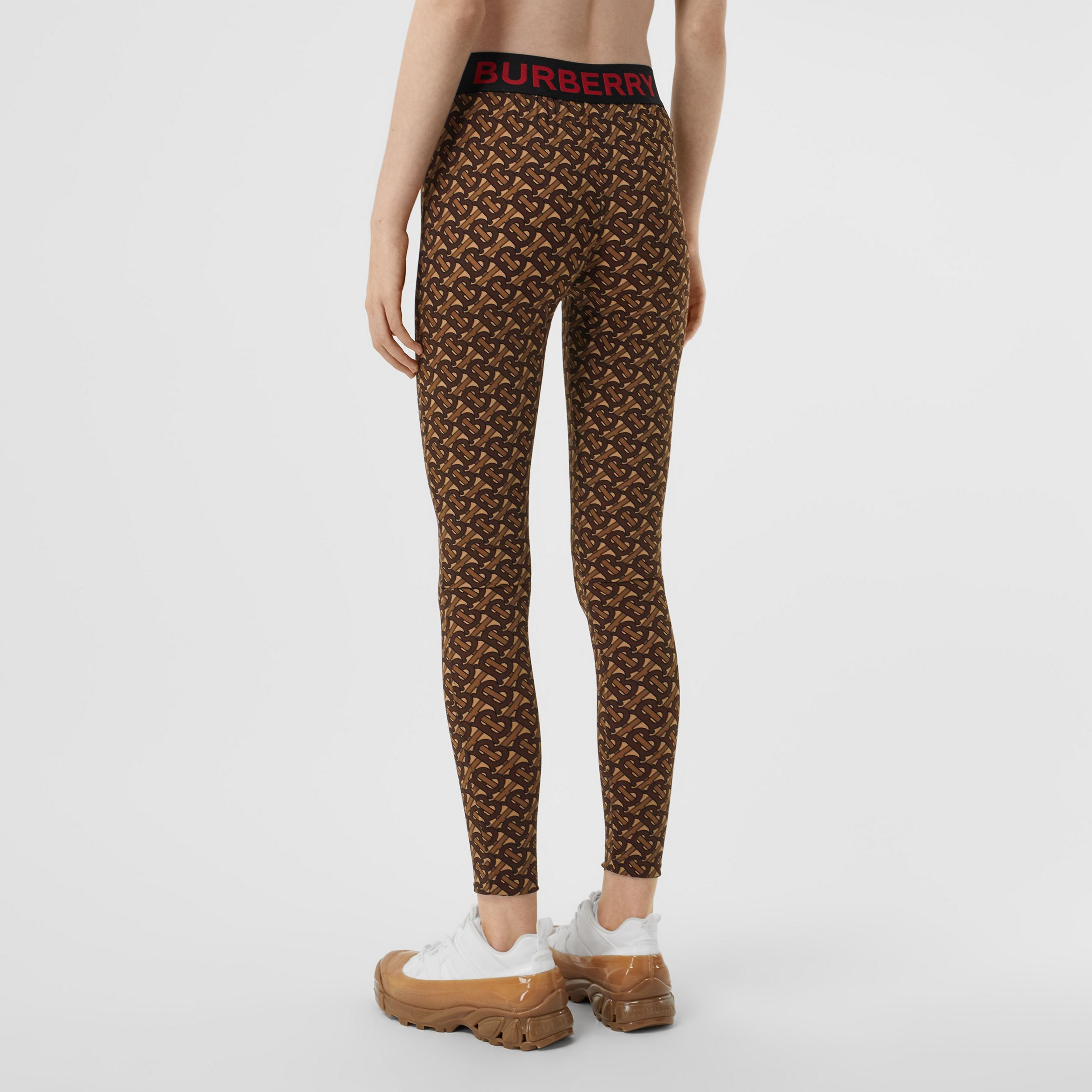 Monogram Print Stretch Jersey Leggings in Bridle Brown - Women | Burberry - 3