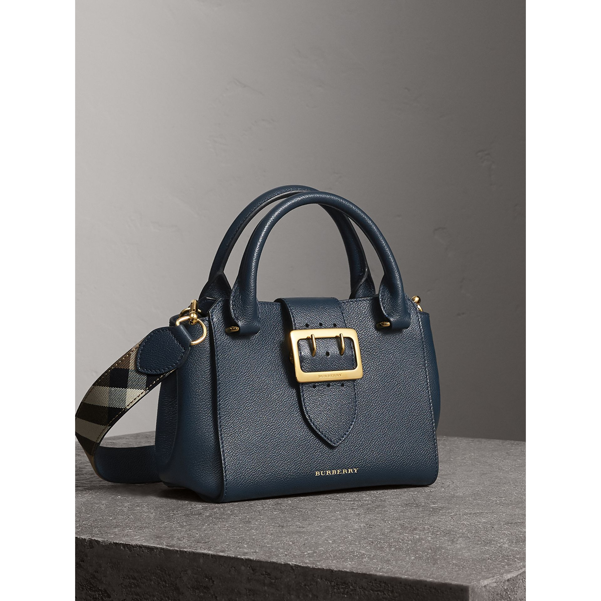 The Small Buckle Tote in Grainy Leather in Blue Carbon - Women | Burberry - gallery image 6