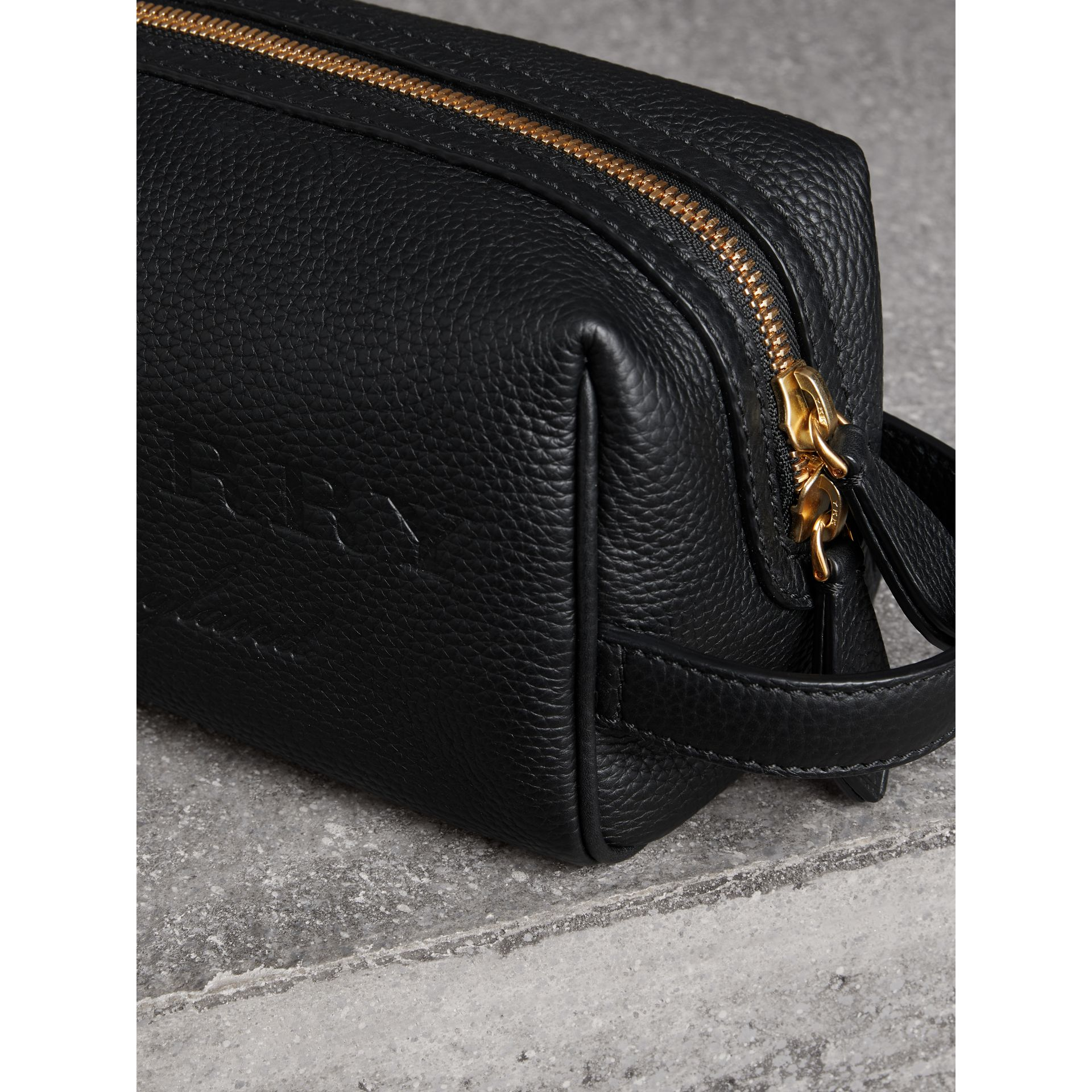Embossed Grainy Leather Pouch in Black | Burberry - gallery image 1