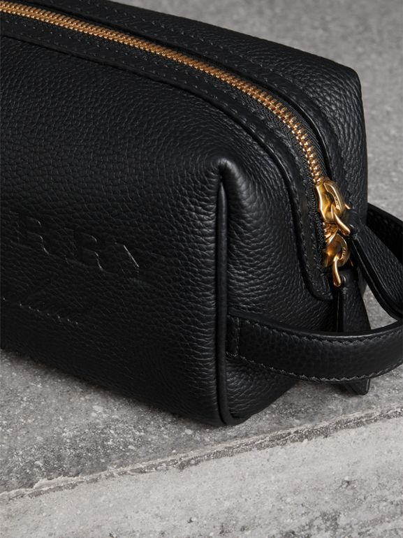 Embossed Grainy Leather Pouch in Black | Burberry - cell image 1