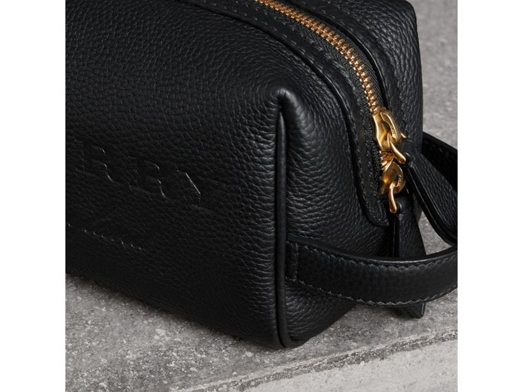 Embossed Grainy Leather Pouch in Black | Burberry United Kingdom - cell image 1