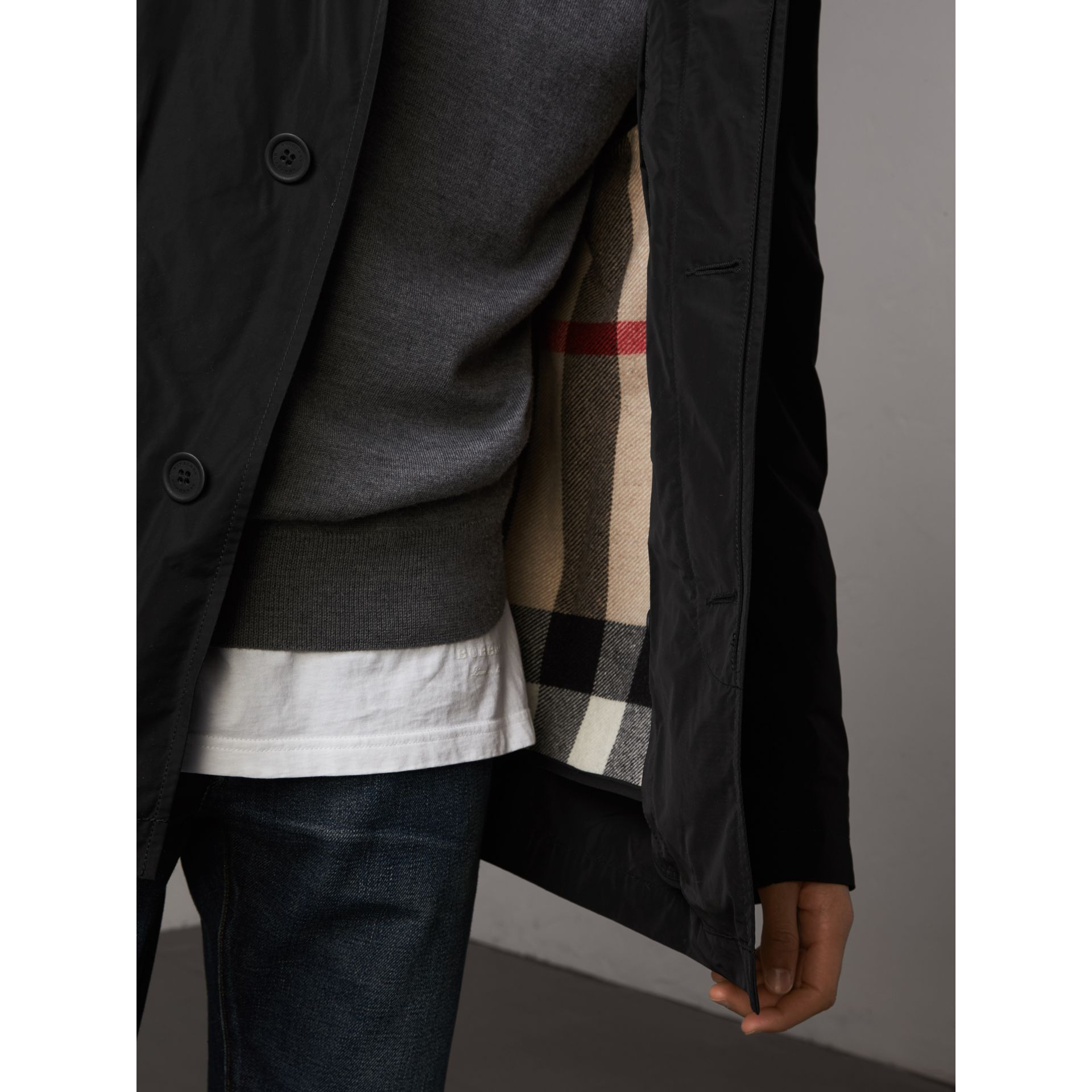 Showerproof Hooded Jacket with Removable Warmer in Black - Men | Burberry - gallery image 2