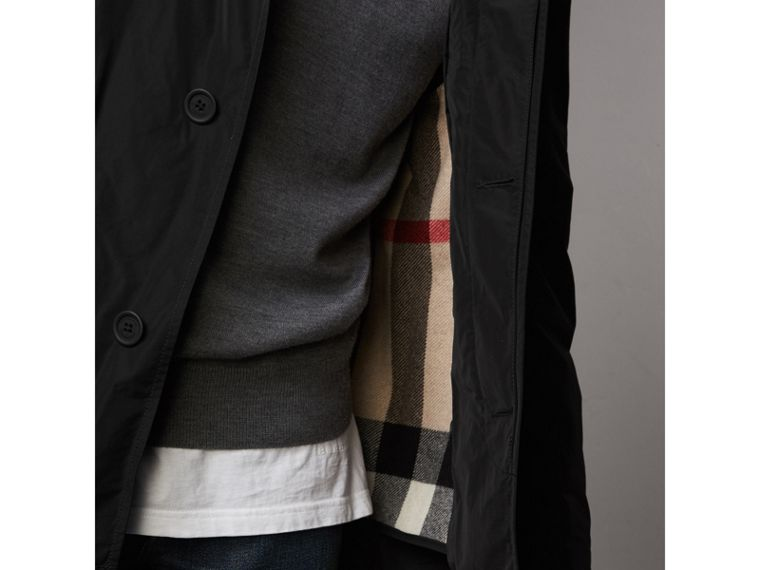 Showerproof Hooded Jacket with Removable Warmer in Black - Men | Burberry Canada - cell image 1