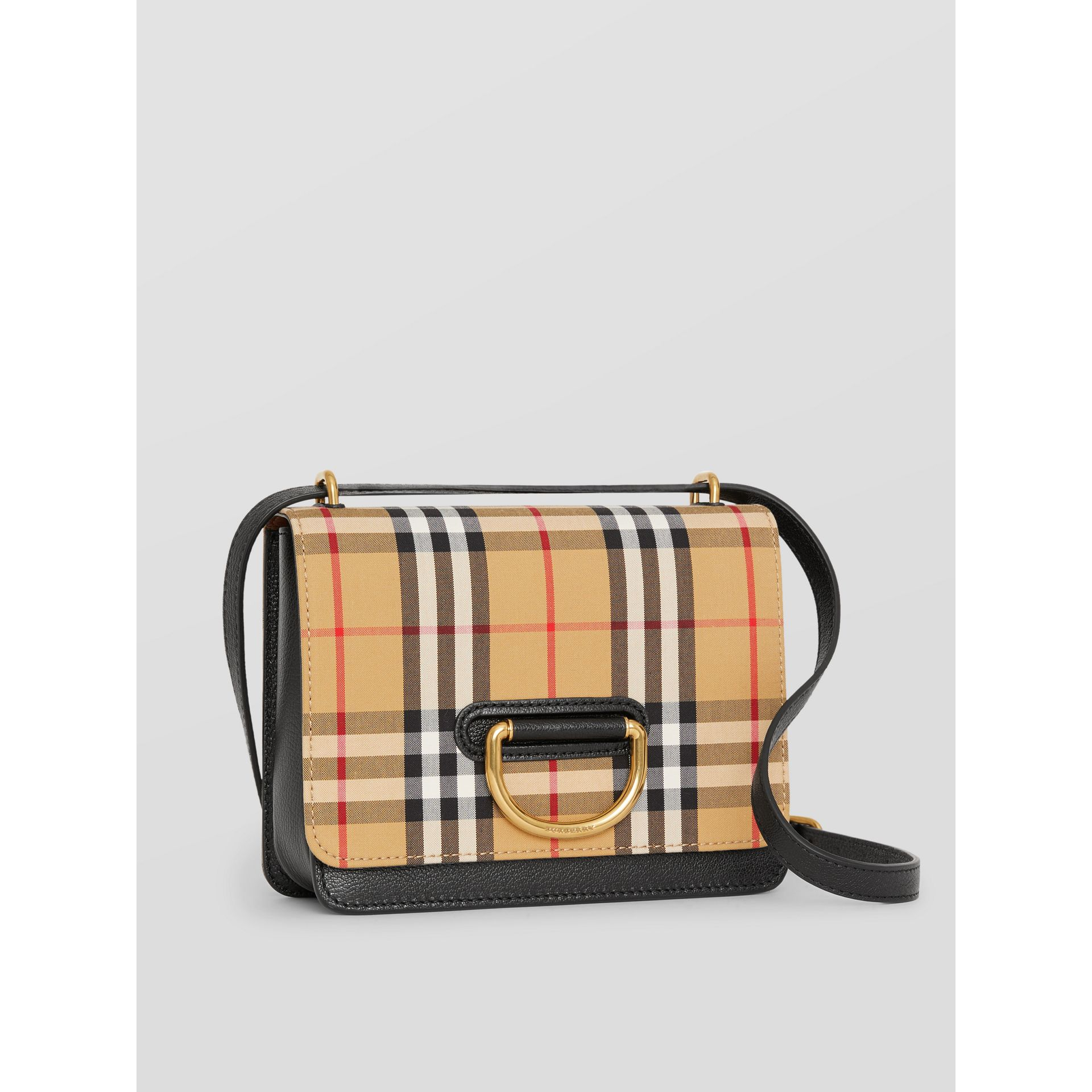 The Small Vintage Check And Leather D-ring Bag in Black/antique Yellow - Women | Burberry - gallery image 5