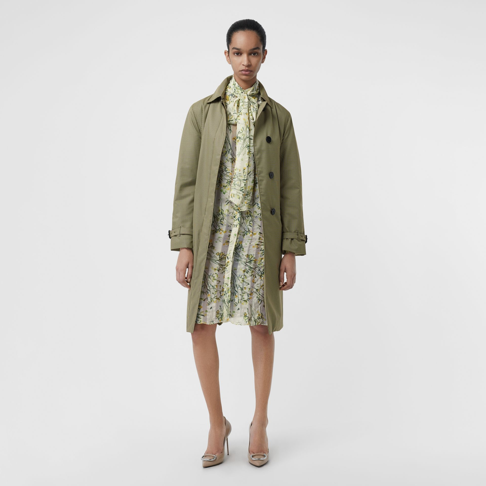 Floral Print Organza Tie-neck Shirt Dress in Lawn Green - Women | Burberry - gallery image 4