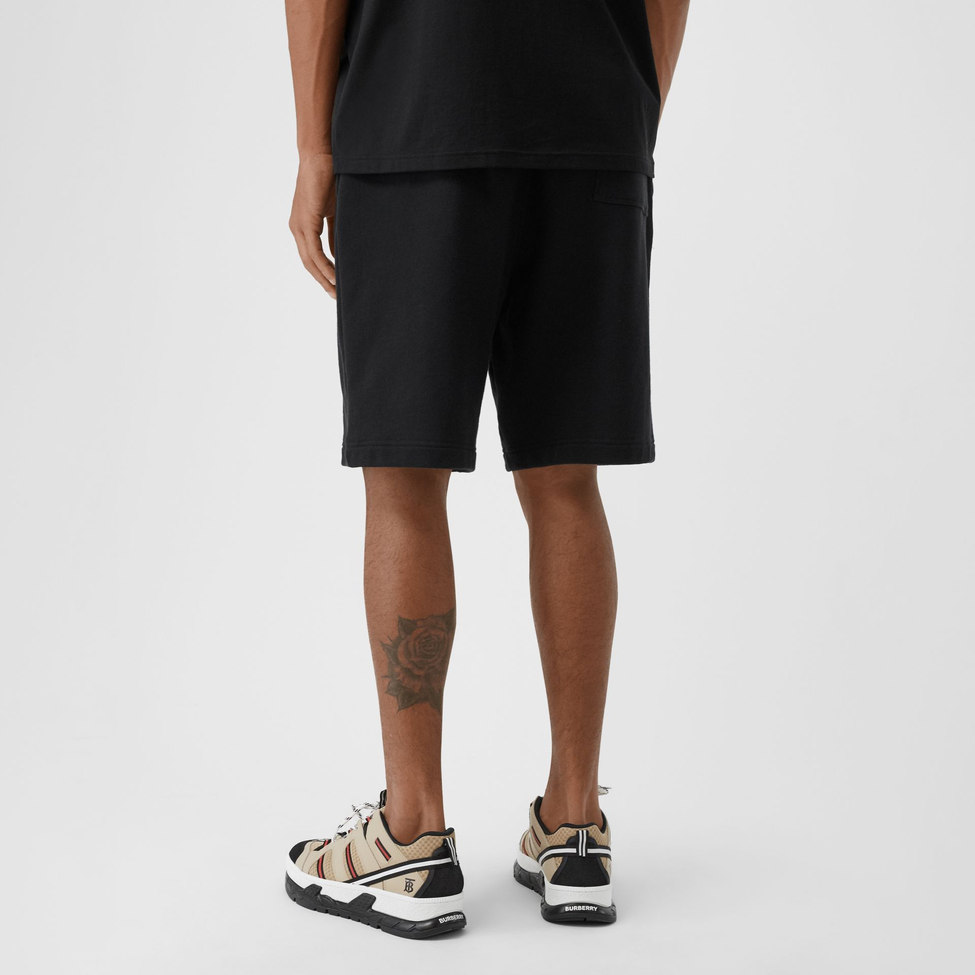 Logo Graphic Cotton Drawcord Shorts in Black - Men | Burberry United Kingdom - gallery image 2