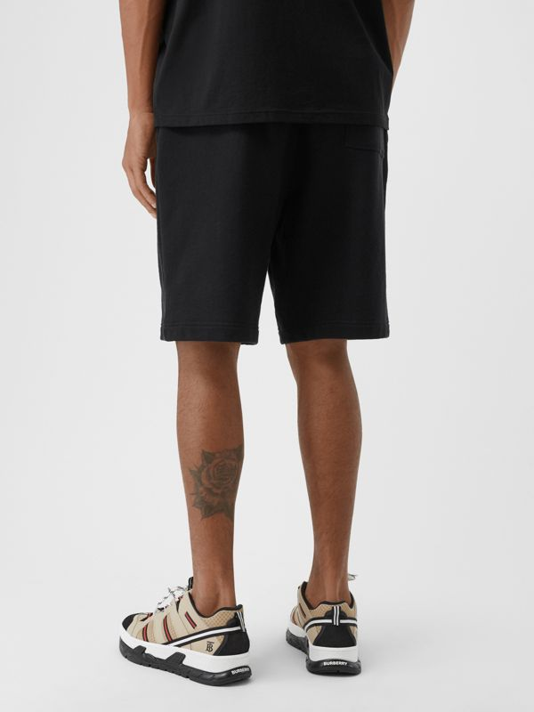 Logo Graphic Cotton Drawcord Shorts in Black - Men | Burberry United Kingdom - cell image 2