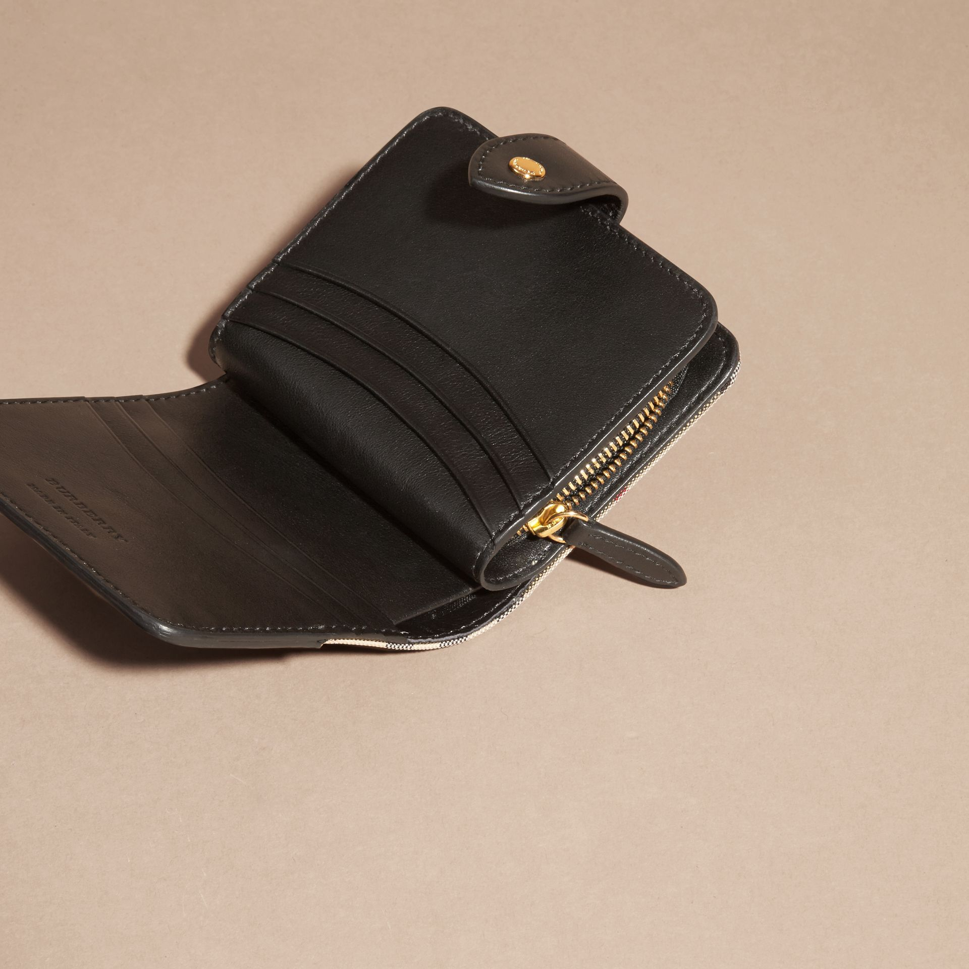 Black Horseferry Check and Leather Wallet Black - gallery image 5