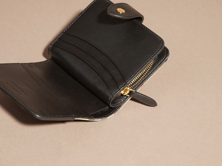 Black Horseferry Check and Leather Wallet Black - cell image 4