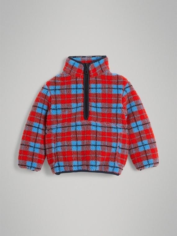 Куртка из флиса в клетку (Ярко-красный)