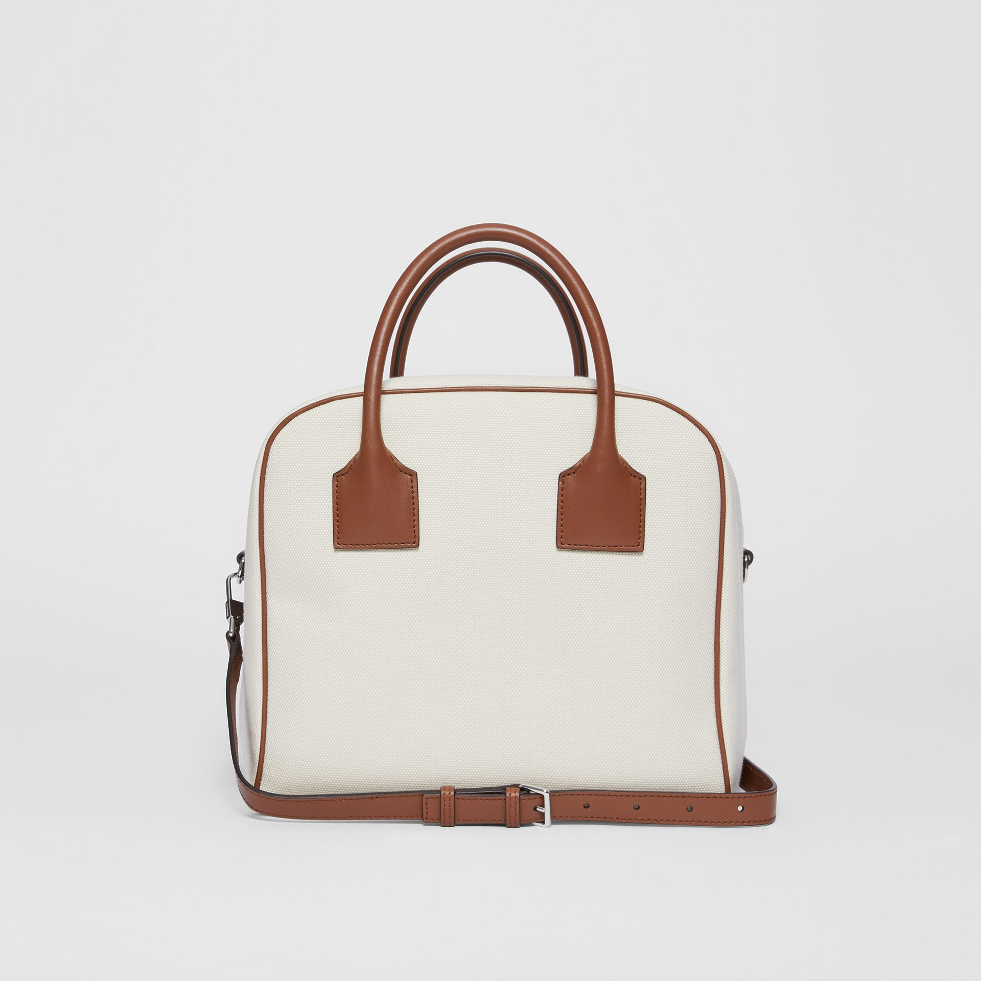 Medium Horseferry Print Canvas Cube Bag in Natural/malt Brown - Women | Burberry Australia - gallery image 8