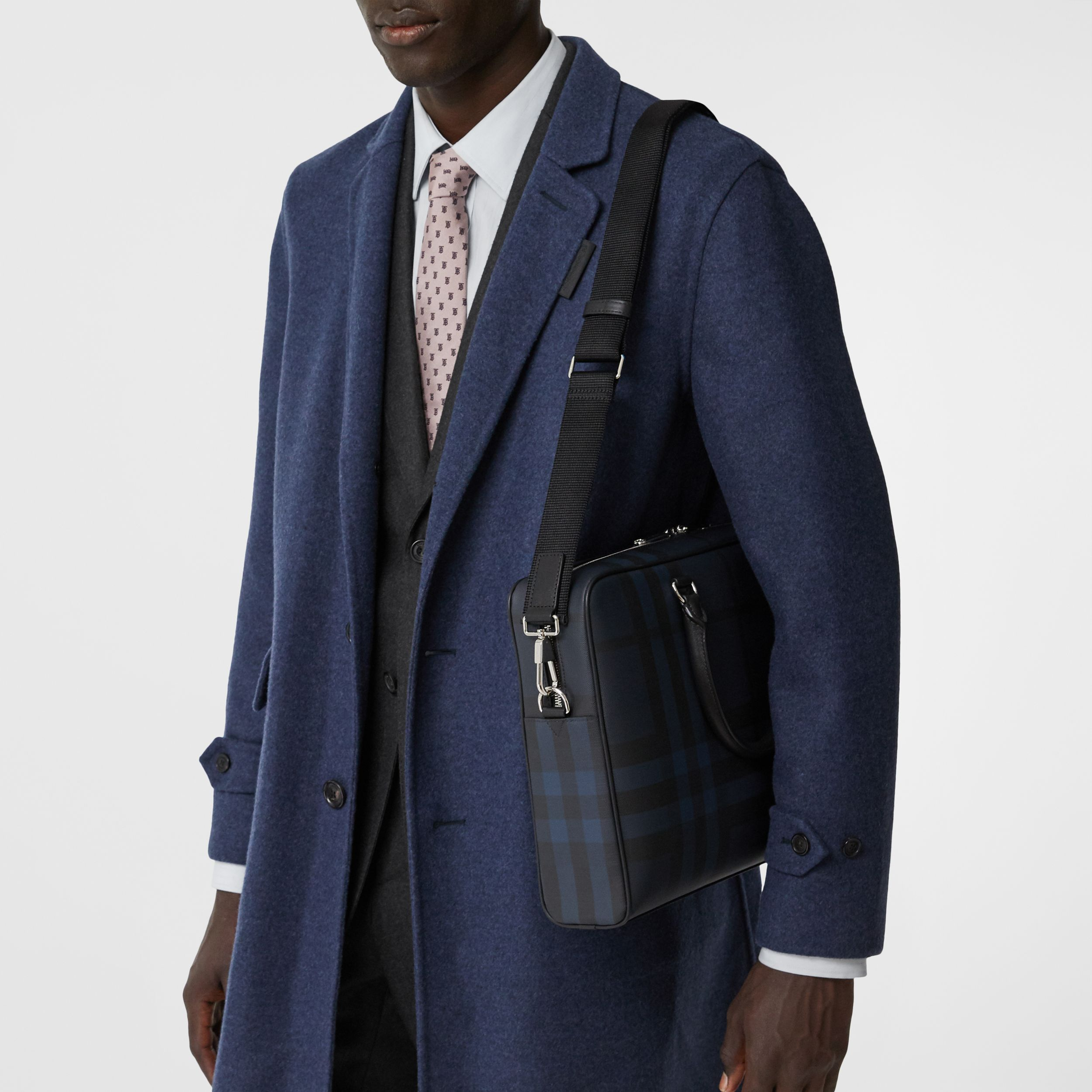 London Check and Leather Briefcase in Navy/black - Men | Burberry - 3