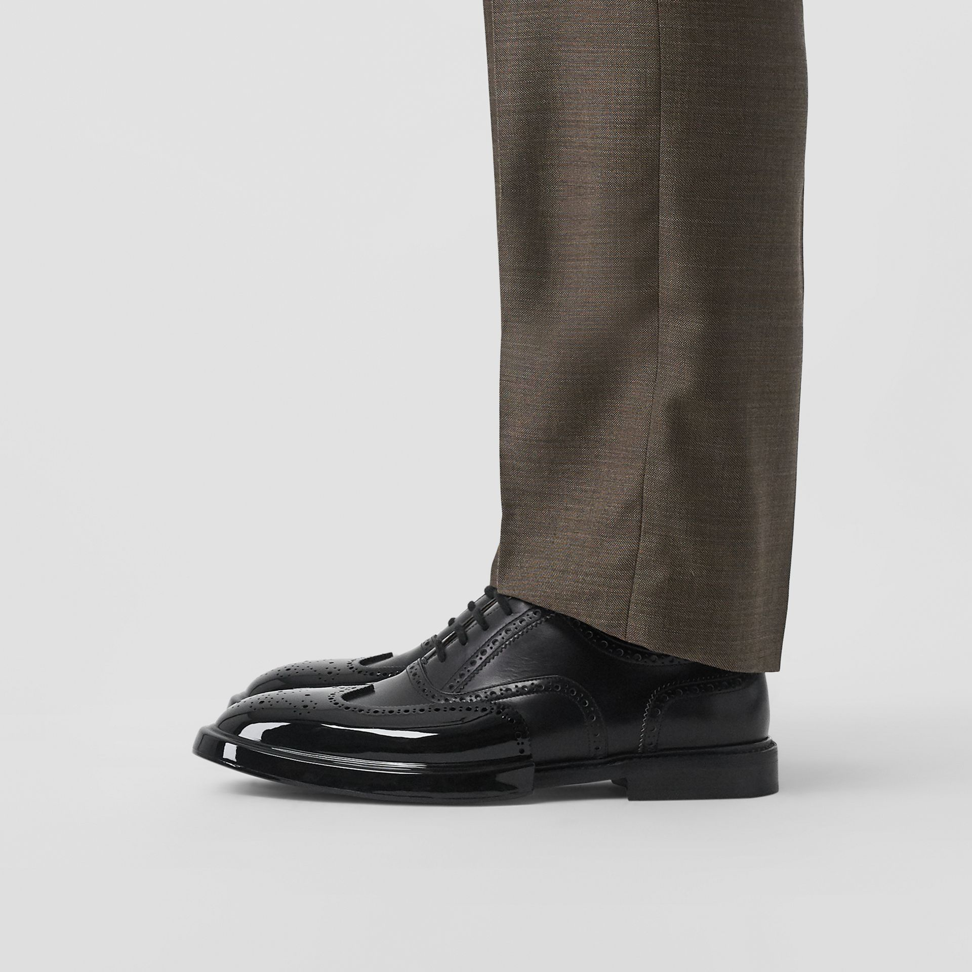 Toe Cap Detail Leather Oxford Brogues in Black - Men | Burberry - gallery image 2