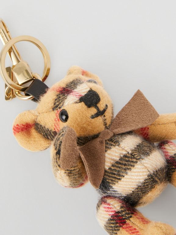 Thomas Bear Charm in Vintage Check Cashmere in Antique Yellow | Burberry United Kingdom - cell image 1