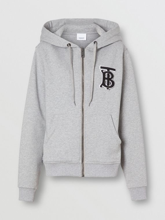Monogram Motif Cotton Oversized Hooded Top in Pale Grey Melange