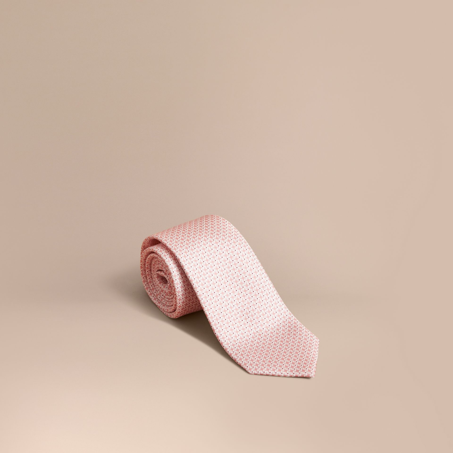 Modern Cut Graphic Puppy Tooth Print Silk Tie in Rose Pink - Men | Burberry Australia - gallery image 1