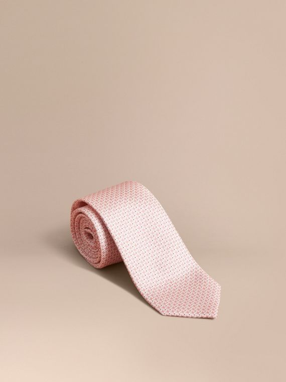 Modern Cut Graphic Puppy Tooth Print Silk Tie Rose Pink