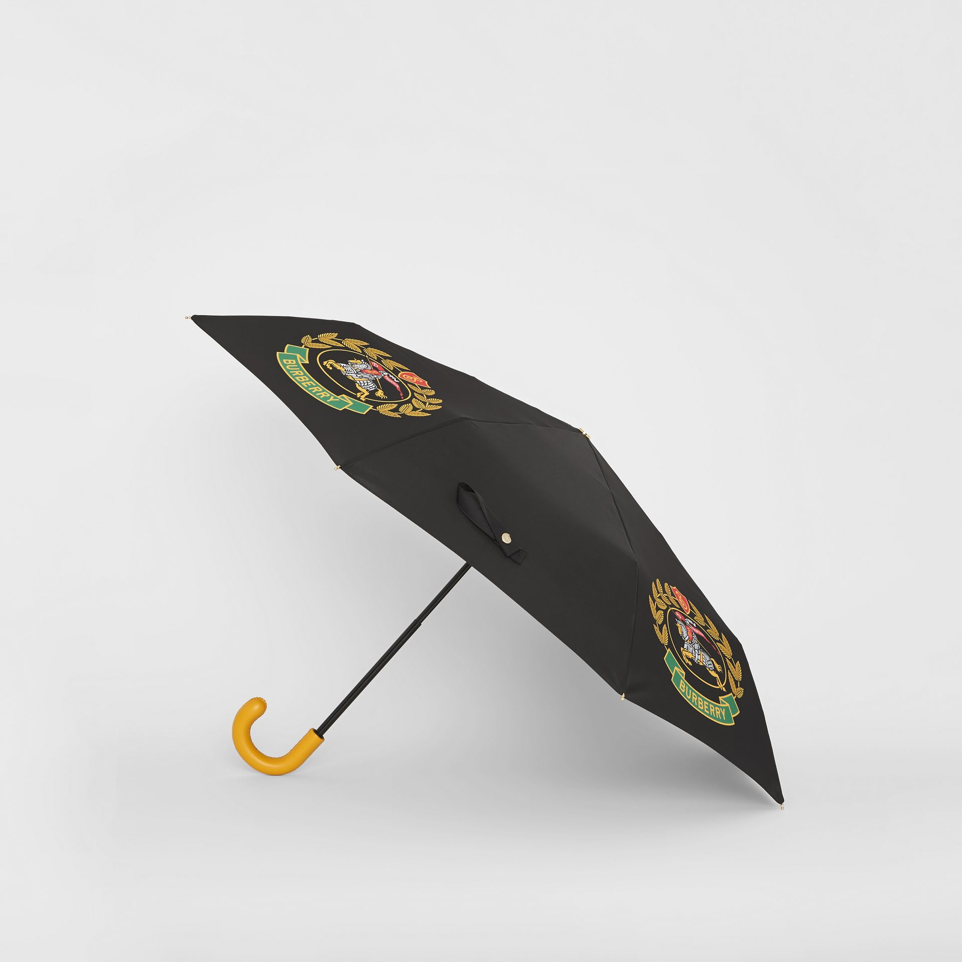 Crest Print Folding Umbrella in Black | Burberry - gallery image 3