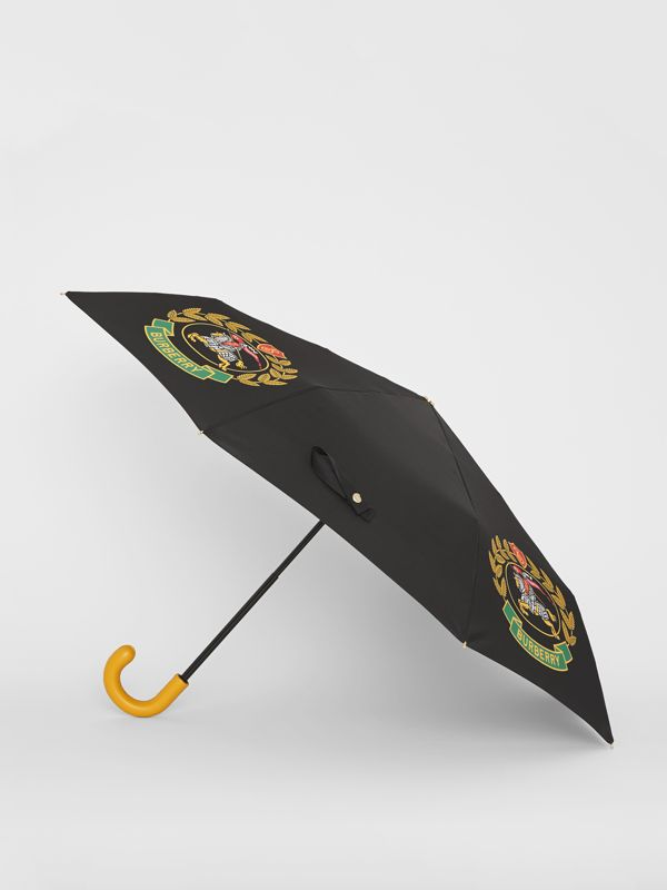 Crest Print Folding Umbrella in Black | Burberry - cell image 3