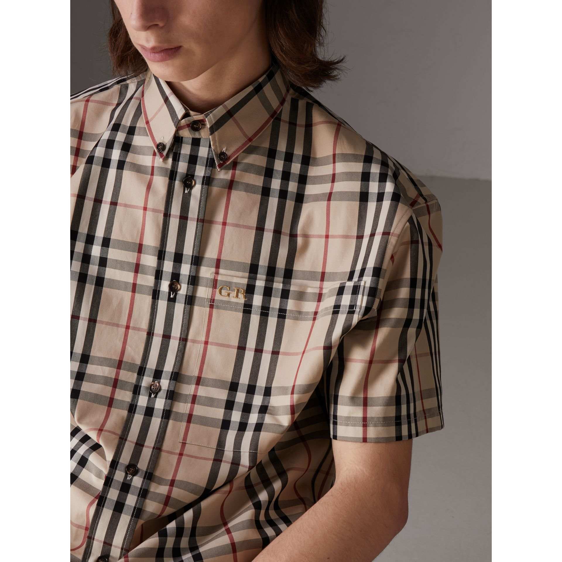 Gosha x Burberry Short-sleeve Check Shirt in Honey | Burberry United States - gallery image 1
