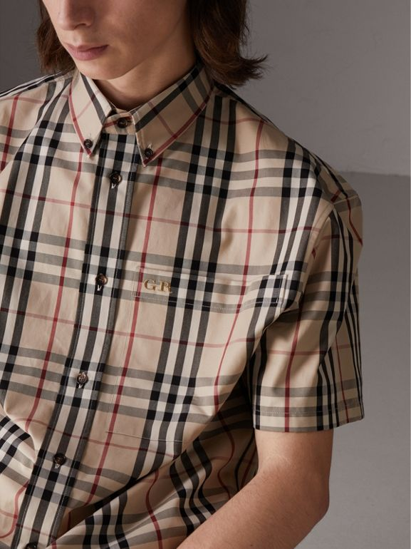 Gosha x Burberry Short-sleeve Check Shirt in Honey - Men | Burberry United States - cell image 1