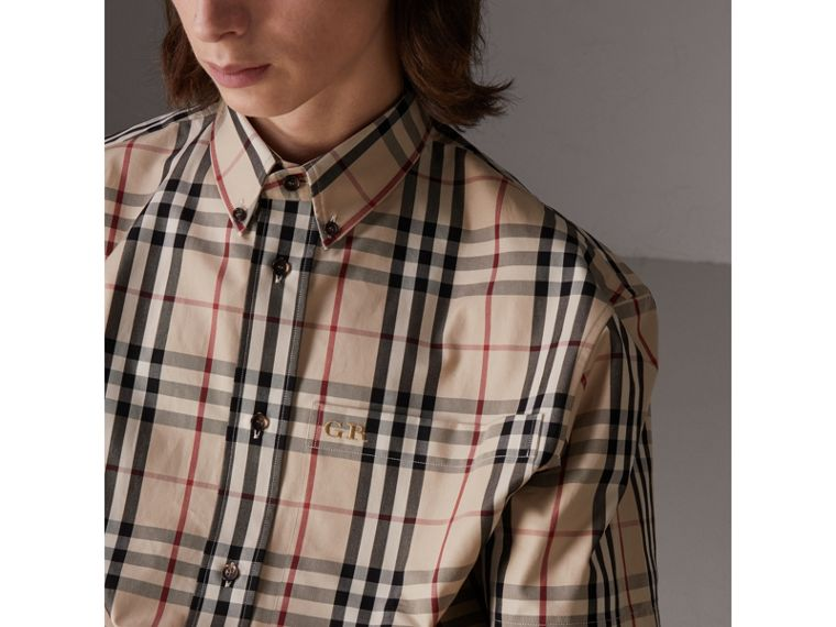 Gosha x Burberry Short-sleeve Check Shirt in Honey | Burberry Singapore - cell image 1