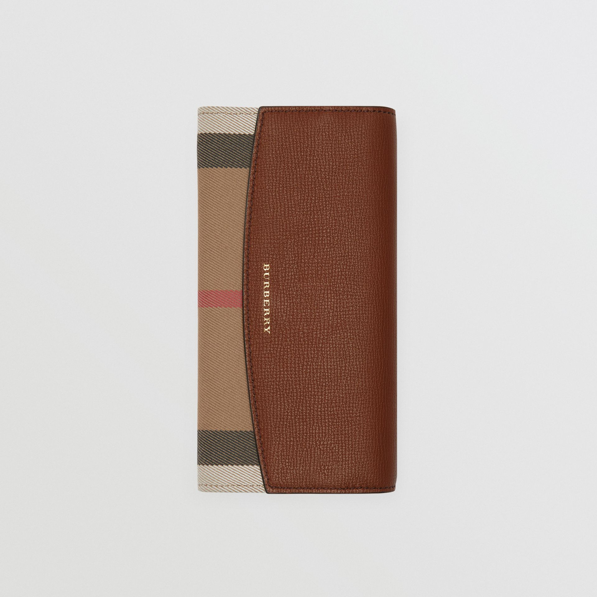 House Check And Leather Continental Wallet in Tan - Women | Burberry - gallery image 0
